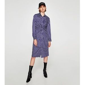 Zara striped button down twist knot shirt dress